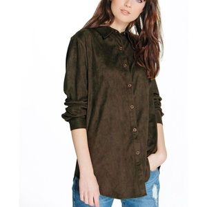 Boohoo Large Olive Green Suedette Button Down Shir